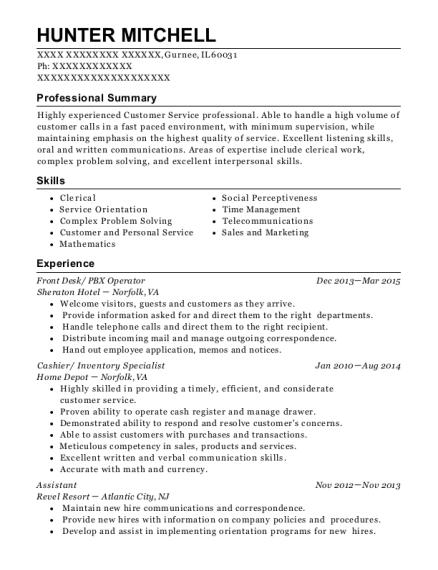 View Resume. Front Desk/ PBX Operator
