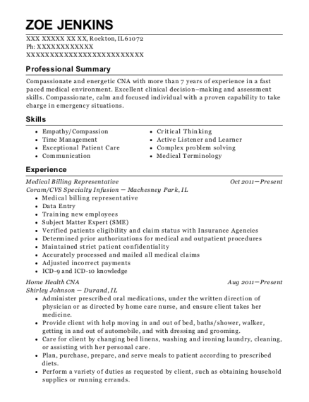 View Resume. Medical Billing Representative