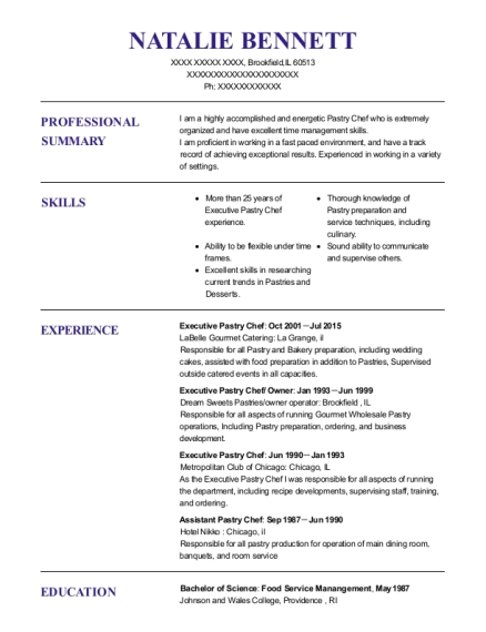 view resume executive pastry chef