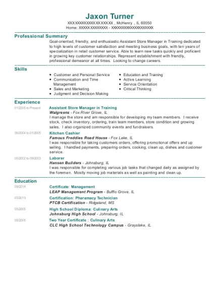 Walgreens Assistant Store Manager In Training Resume Sample ...