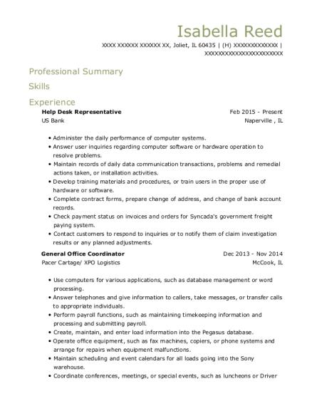 View Resume Help Desk Representative