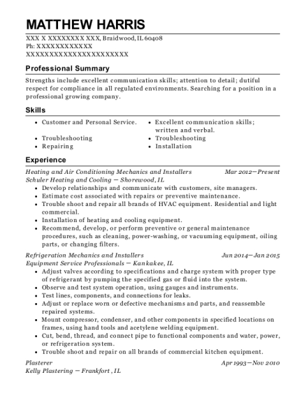 ... Refrigeration Mechanics And Installers. Customize Resume · View Resume