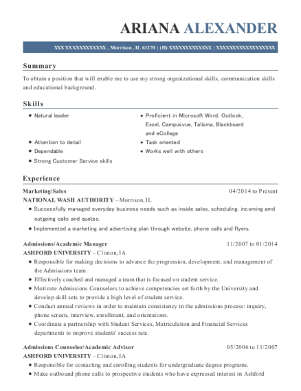 Best Admissions/academic Manager Resumes   ResumeHelp