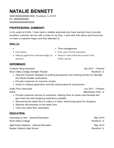 Rock Valley College Starlight Theater Costume Shop Assistant Resume