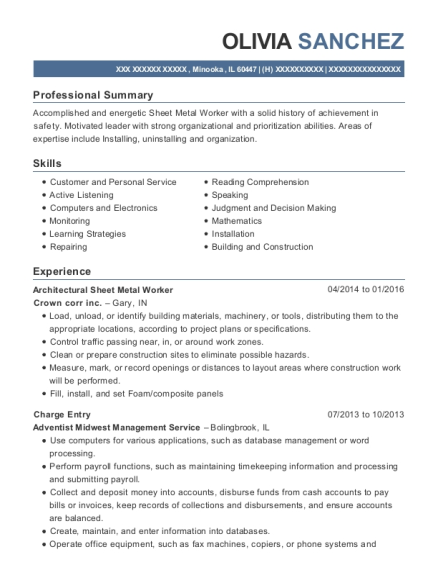 olivia sanchez - Charge Entry Specialist Sample Resume