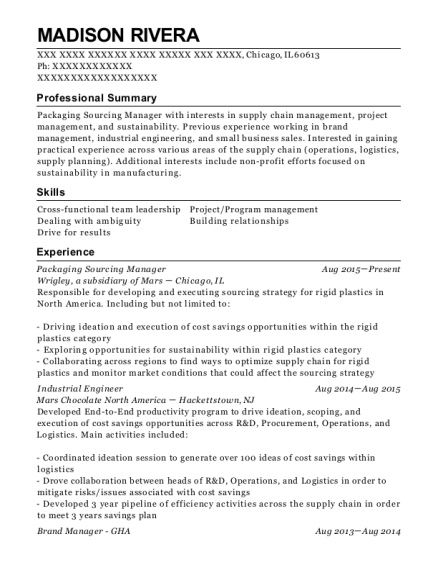 Wrigley Packaging Sourcing Manager Resume Sample - Chicago Illinois ...