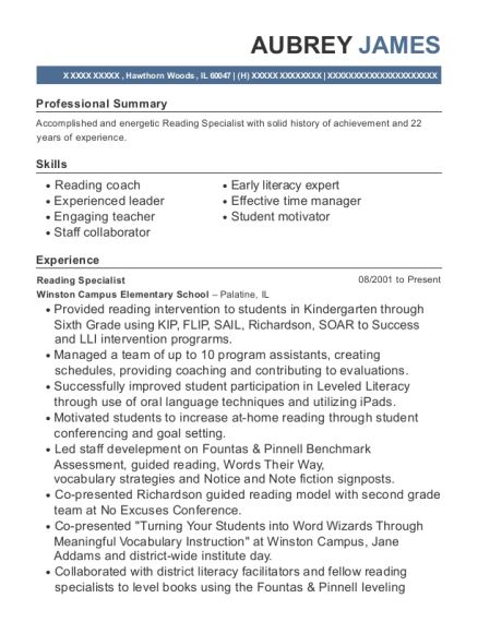 Aubrey James  Reading Specialist Resume
