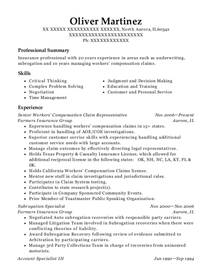 oliver martinez - Workers Compensation Specialist Sample Resume