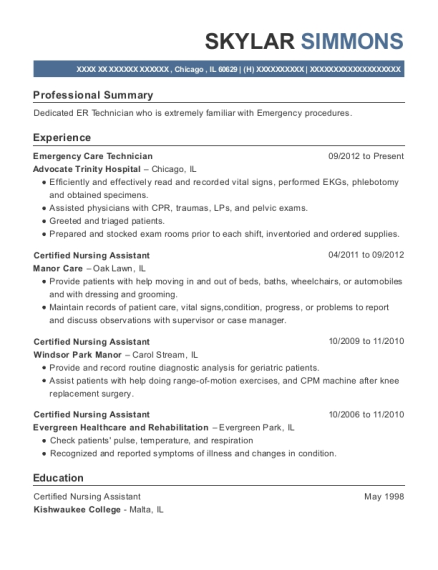 Legal Assistant , Emergency Care Technician. Customize Resume · View Resume