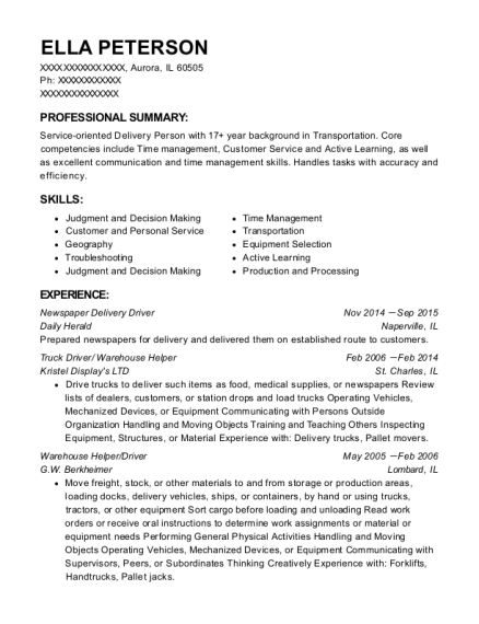 daily herald newspaper delivery driver resume sample