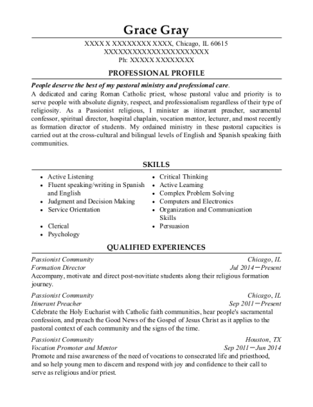 Passionist Community Formation Director Resume Sample - Chicago ...