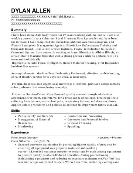 Best Paint Booth Operator Resumes | ResumeHelp