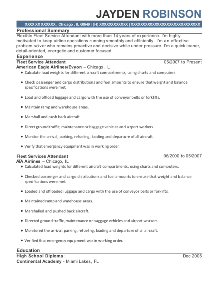American Eagle Airlines Fleet Service Attendant Resume Sample