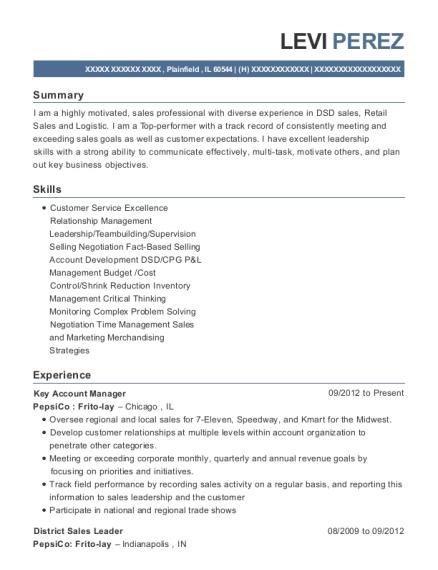 levi perez - Frito Lay Merchandiser Sample Resume