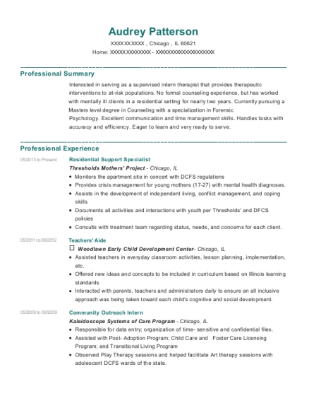 Thresholds Mothers Project Residential Support Specialist Resume