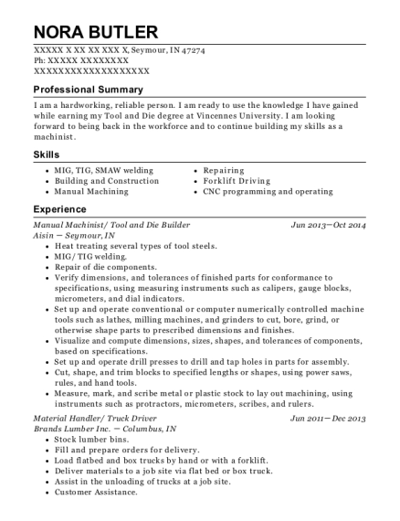View Resume Manual Machinist