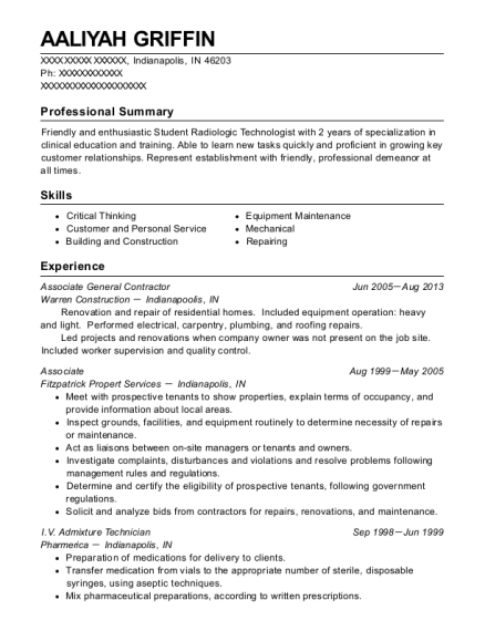 Self Employed General Contractor Resume Sample