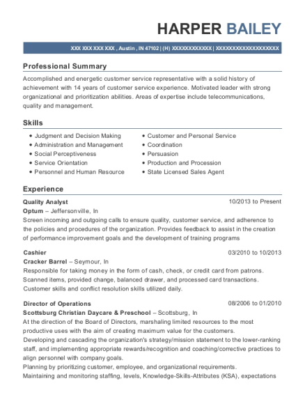 harper bailey - Quality Analyst Resume
