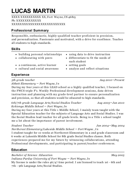 Lucas Martin  Social Studies Teacher Resume