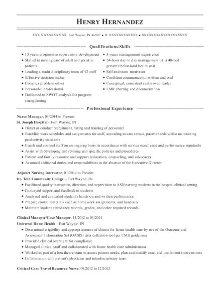 View Resume. Nurse Manager