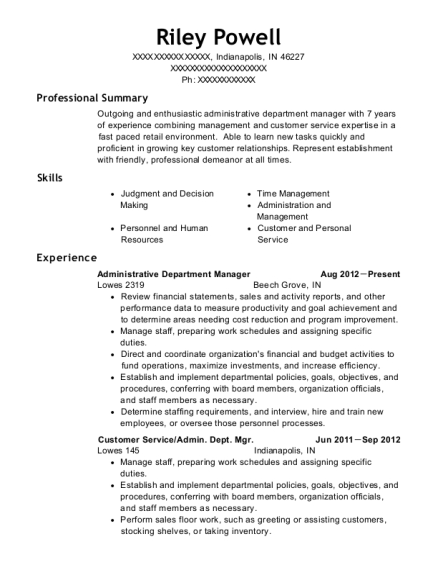lowes 2319 administrative department manager resume sample