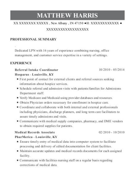 Matthew Harris. Companies Worked For: Hosparus , PharMerica. JobTitles  Held: Referral Intake