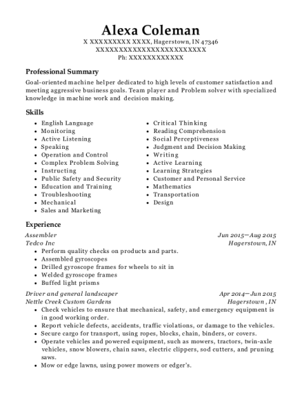 Best Shipping And General Machinist Resumes | ResumeHelp