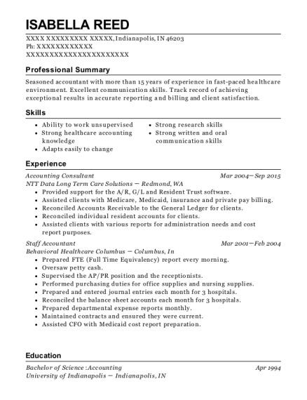 ntt data long term care solutions accounting consultant resume