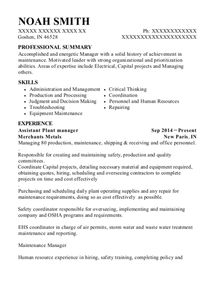 Noah Smith  Plant Manager Resume