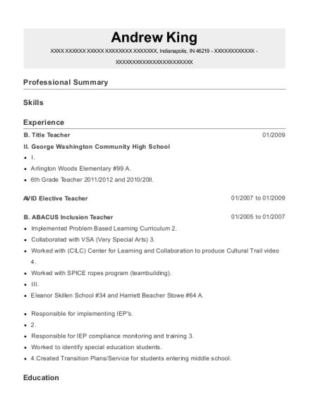 ii george washington community high school b title teacher resume