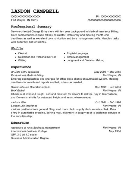 Professional Medical Billing Iv Data Entry Specialist Resume Sample