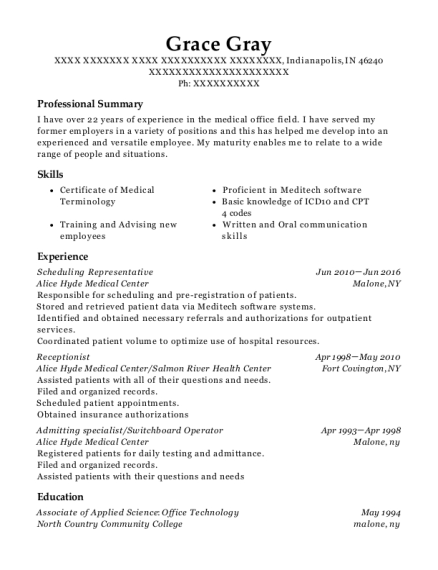 grace gray - Switchboard Operator Resume