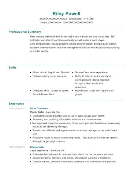 precis solar solar canvasser resume sample greensburg indiana