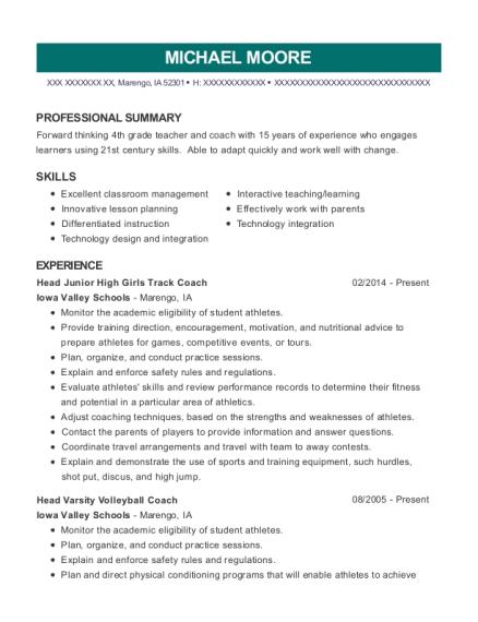 View Resume. Head Junior High Girls Track Coach