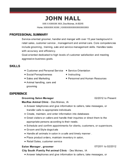 Grooming Salon Manager , Pet Stylist. Customize Resume · View Resume