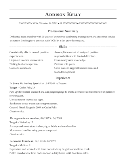 View Resume In Store Marketing Specialist