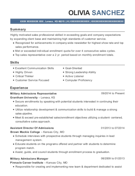 best military admissions representative resumes resumehelp