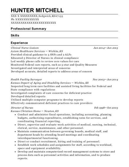 Axiom Healthcare Services Clinical Nurse Liaison Resume Sample