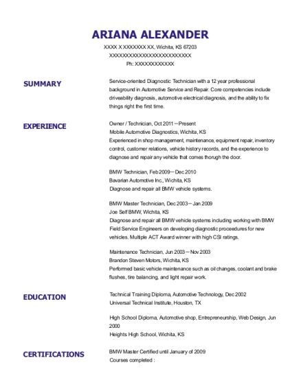 ariana alexander - Bmw Technician Resume Sample