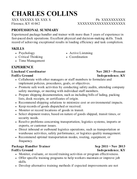 fedex ground package handler trainer resume sample passaic new