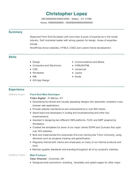 web producer resume
