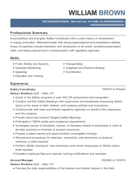 william brown - Safety Coordinator Resume