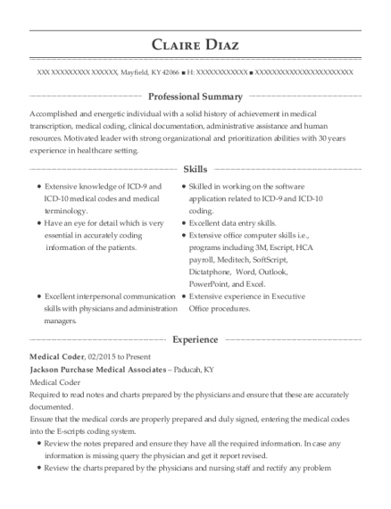 claire diaz - Clinical Documentation Specialist Sample Resume