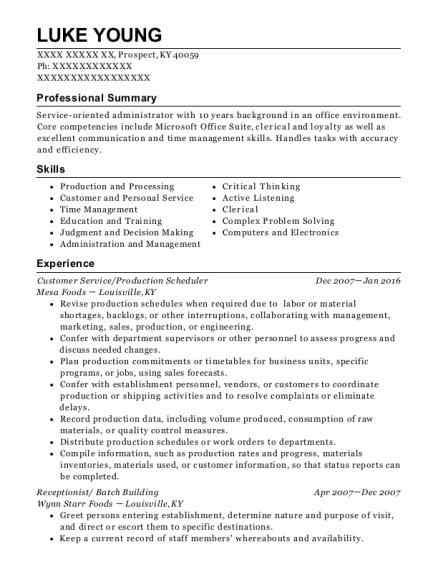 View Resume. Customer Service/Production Scheduler
