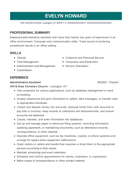 Evelyn Howard  Best Administrative Assistant Resume