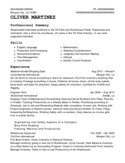 Kohls Efc 2 Material Handler Resume Sample San