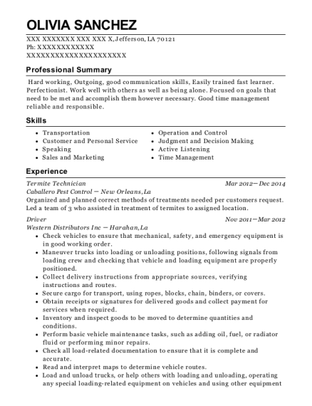 View Resume Termite Technician