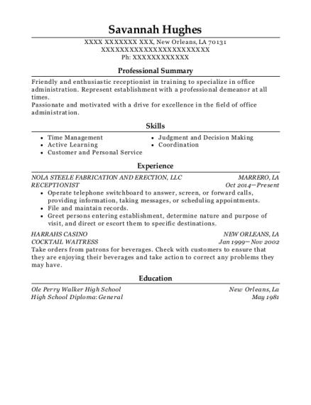 best receptionist resumes in louisiana resumehelp