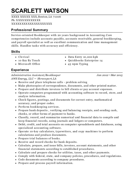 aws energy  llc administrative assistant  bookkeeper resume sample