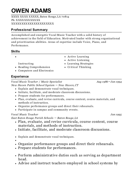 best vocal music teacher resumes resumehelp